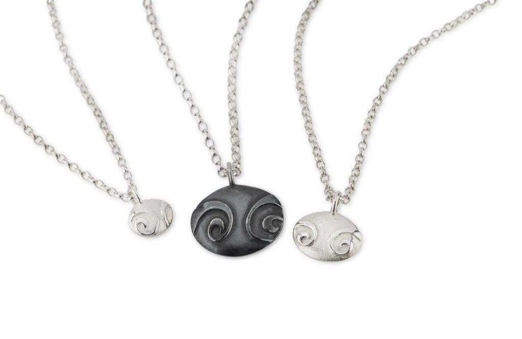Medium Small and Petite Spiral Pebble Pendants Jewellery