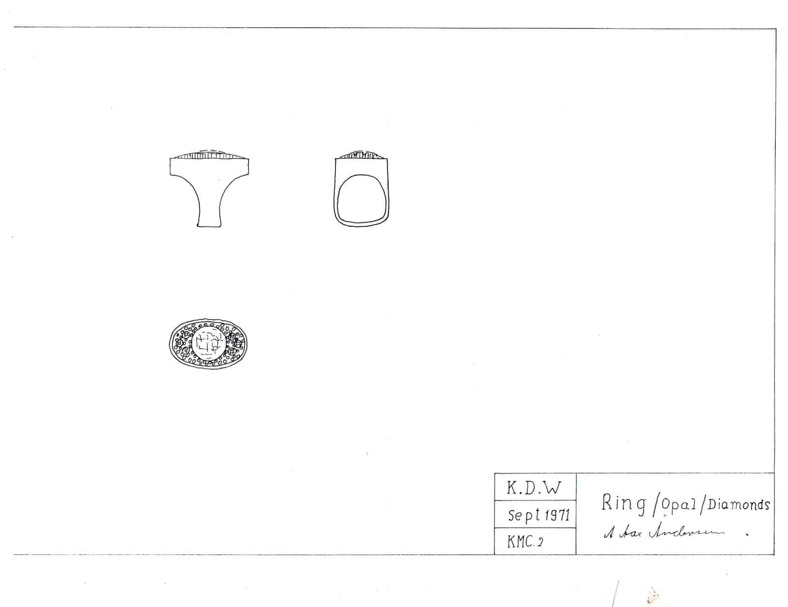 Technical Drawing Sketch of Cluster Ring Jewellery Blog