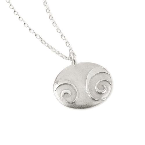 Silver Spiral Pebble Pendant Chain Jewellery